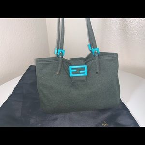 Authentic fendi zucca buckle micro mini tote bag